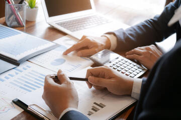 charts and graphs showing business analytics