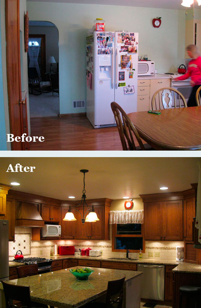 Before and after: A kitchen designed by Emily Alt of DreamMaker Bath & Kitchen of Grand Rapids, Michigan.