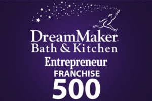 Image showing the DreamMaker® Bath and Kitchen and Entrepreneur Franchise 500 logos