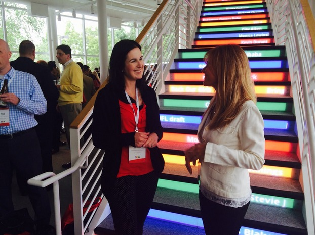 DreamMaker marketing chief Jamie Brooks attends a summit at Google HQ in Mountain View, California. Each step in the staircase features a topic trending in Google searches.