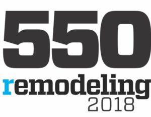 "The Remodeling 550 2018 logo in black text with a blue lowercase ""r"" in ""remodeling."""
