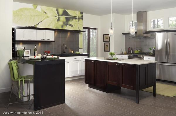 A modern-style kitchen remodel, with slate-gray tile floors, white cabinets and walls, a black kitchen island and an artistic close-up photograph of a leaf on one wall.