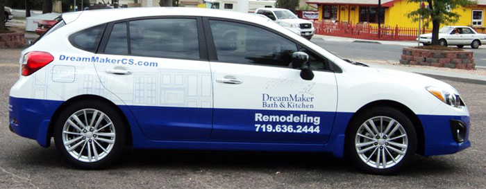 DreamMaker franchises use branded vehicles that build brand awareness in the community. The vehicles are part of a comprehensive marketing strategy.