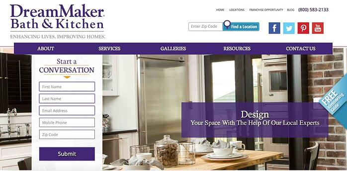 An image of the DreamMaker® Bath and Kitchen consumer website.
