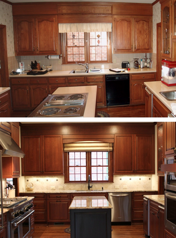 A before-and-after view of the Nicastros' kitchen.