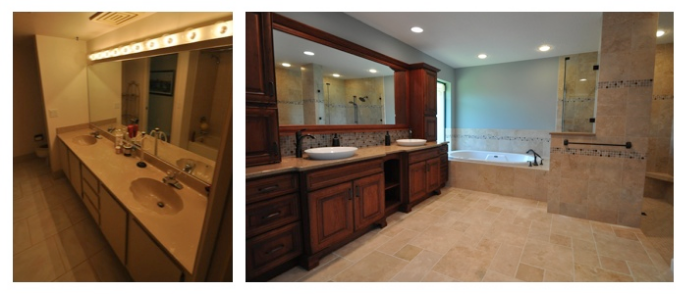 Before and After: A bathroom remodeled by Ed Gribben's DreamMaker remodeling franchise.