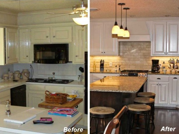 A before picture on the left shows an outdated kitchen in mostly white with plastic counter tops and old-fashioned crockery. A picture on the right shows the after version of the kitchen with granite countertops, a brick backsplash, a kitchen island surrounded by stools and a dark hardwood floor.