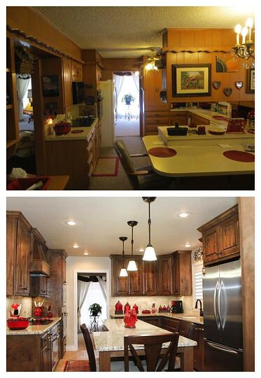 Before and after photos of Shirley Gass' kitchen, which was remodeled by DreamMaker Bath & Kitchen of Lubbock.