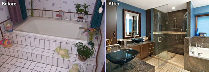 This before-and-after from DreamMaker of St. Louis Park, Minnesota, shows how a part of his-and-her bathrooms were combined to create a spa-like remodel.