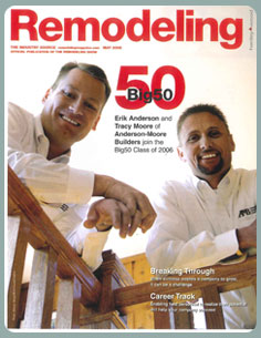 Erik Anderson, left, and Tracy Moore were already on Remodeling Magazine's Big50 list when they decided to buy a DreamMaker Bath & Kitchen franchise. Tracy credits DreamMaker with helping them get through the Great Recession.